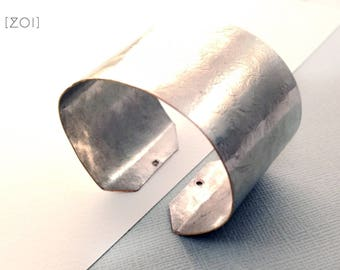 Sexy Hammered Metal Cuff Bracelet in silver - adjustable - rustic luxe geometric design - Modern Artisan made Jewellery