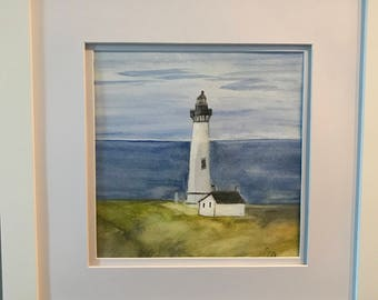 Original Watercolor Painting of Yaquina Head Lighthouse