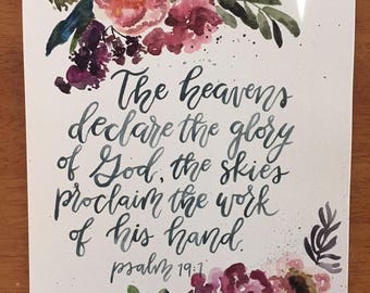 Pslams 19:1 9X12 Watercolor