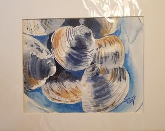 Block Island Clams original Watercolor on paper 8 x 10 art, 11 x 14 white mat
