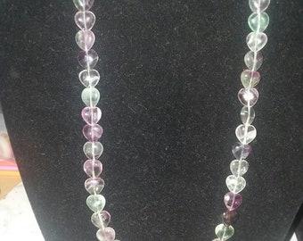 Rainbow fluorite heart necklace.