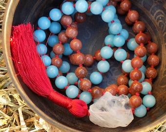 Luck and Creativity Mala - 108 bead mala necklace - Amazonite and Goldstone mala - meditation mala - gemstone mala - healing mala