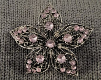 Antique Silver Plated Flower Pin Brooch Pink Crystals Vintage