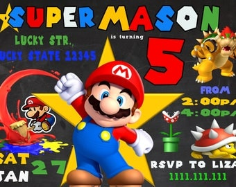 Super Mario Invitation / Super Mario Birthday Invitation / Super Mario Party / Super Mario Birthday / Super Mario Invite / Super Mario Card