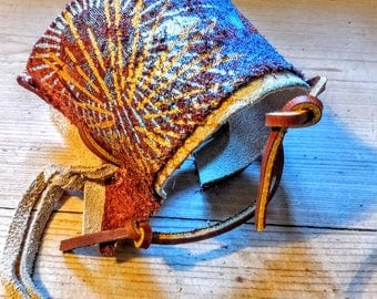 Leather, hand crafted cuff