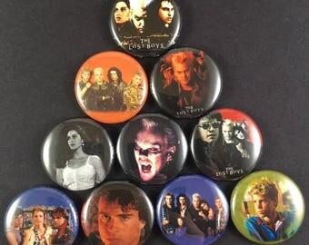 "The Lost Boys 1"" Button Pin Set Comedy Action Horror Cult Classic Corey Feldman Kiefer Sutherland"