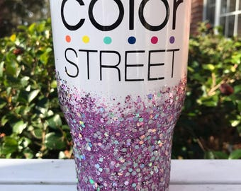 "Color Street ""Los Angeles"" Glitter Personalized Rtic Tumbler ~ 30 ounces"
