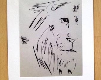Lion ink drawing print
