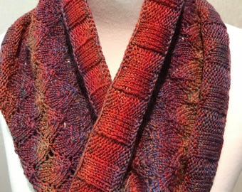 Hand knitted cowl