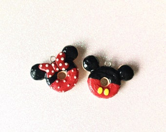 Mickey and Mini Mouse polymer clay charm