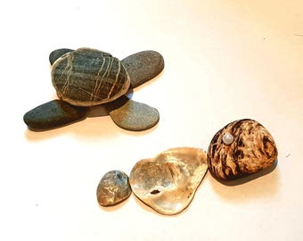 Pebble Art, Sea Turtle, Pearl, Shells, Picture Art, Beach Pebble, Art Gift