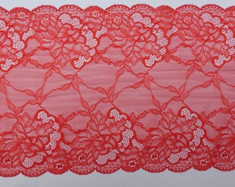 "Beautiful Bright Vibrant Coquelicot Red Soft Stretch Lace Trim 8.75""/22cms-  PER METRE"