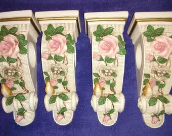 Vintage set of 4 curtain holders. Birds and roses.