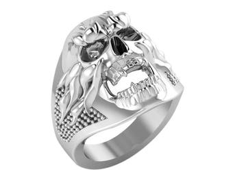 Sterling Silver Ring with Flames and Intricate Details