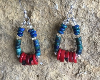 Pear shaped Azurite and Focal Coral Earrings