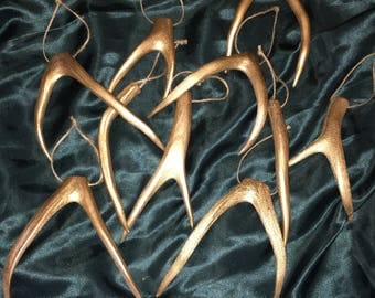 Gold Mule Deer Antler Shed Ornaments - Set of 10