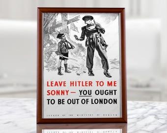 Antifa Anti-fascist Anti Nazi WW2 British Propaganda Poster - Second World War UK London Funny militaria prints, anti hitler, anti-hitler