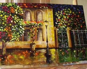 Oil painting Cityscape Knife palette Golden autumn
