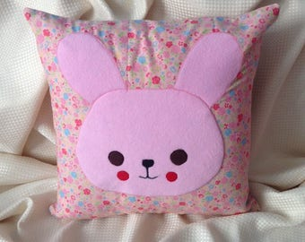appliqued rabbit children's cushion