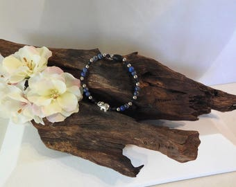Natural Lapis Lazuli healing gemstone stretch bracelet with Swarovski Crystals and Majestic Elephant Spacer