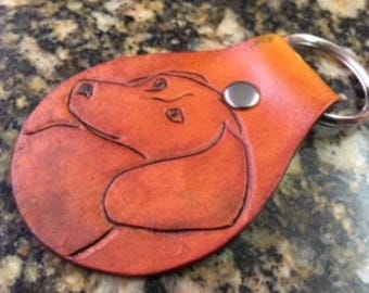 Custom hand tooled leather key fob, Keychain, Dachshund, Dog