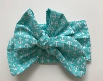 Aqua anchor baby Head Wrap Bow, White and Aqua Head wrap Bow, Baby Head wrap Bow, Baby Headwrap Bow, Girls Head wrap Bow,