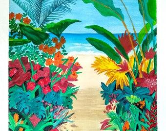 Acrylic on Paper/Beach/Digital Print/Instant digital download