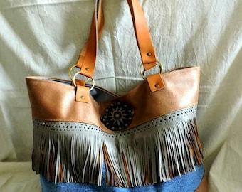Chestnut leather tote bag denim and fringe