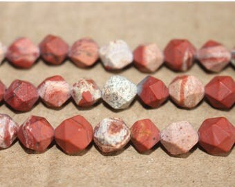 8mm White Red Jasper Matte faceted stars cut nugget beads ,loose beads,semi-precious stone,15 Inches Full strand
