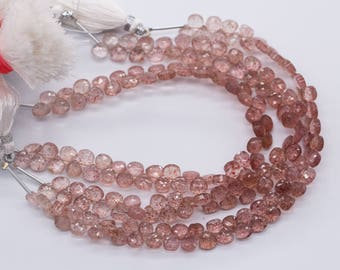 "13-127 100% Natural AAA++Top Quality Strawberry Quartz Faceted Shape 7"" 1 Line"
