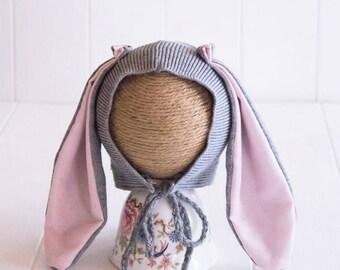 Newborn Bunny Bonnet, Bunny Bonnet, Bunny Ears, Newborn upcycled Bunny Bonnet, Newborn Rabbit Hat, Rabbit Ears Baby Bonnet, Easter Bonnet