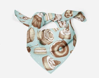 Sweets Silk Scarf Donut Silk Square Scarf Gift For Her Birthday Gift Idea Women Scarf Spring Scarf Summer Scarf Head Silk Scarf Hair Scarf
