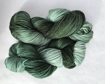 Hand dyed yarn/ forest fairy green
