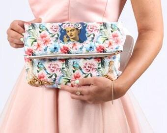 Frida Kahlo blue Hand bag evening bag Fashion unique young & Trendy tropical mexican clutche woman bag puerse faux leather