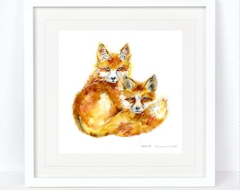My Foxes - Fox Print. Printed from an Original Sheila Gill Watercolour. Fine Art, Giclee Print, Hand Painted, Home Decor