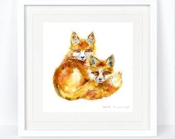 My Foxes - Fox Print. Printed from an Original Sheila Gill Watercolour. Fine Art, Giclee Print, Hand Painted, Home Decor