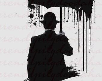 Man umbrella silhouette PNG/SVG