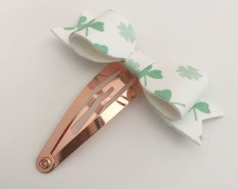 Four Leaf Clover Petite Snap Clip - Faux Leather - Snap Clips - 50mm Clips -