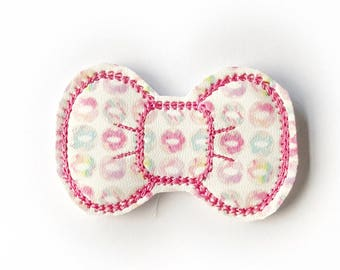 Watercolor Donuts Embroidery Bow Snap Clip - Faux Leather - Snap Clips - 50mm Clips - 2.5 inches - Embroidery Bow - Hair Bows