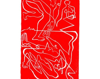 "Linocut Print, ""Mirror"" from the Lineages Series, 4""x6"", Red"