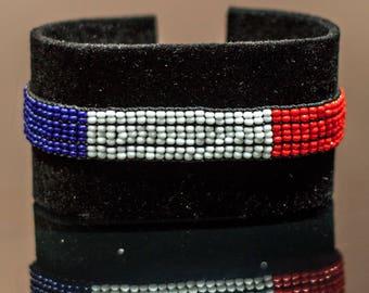 French Flag Bracelet | Maasai Beaded Bracelets | Flag of France | French Flag Wrist Band