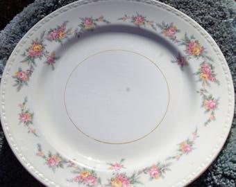 Homer Laughlin Eggshell Georgian, Floral Rim, Tan Verge 3 plates