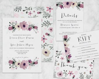 Mauve & Green Floral Watercolor Vertical Wedding Invitations and Suite - Customizable Printable Wedding Invitation Kit - Digital Download