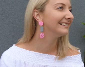 Pink + Grey + Spots Dangle Earrings