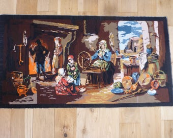 """Tapestry,Vintage French, Kitchen Scene, Cotton, Silks,  Needlepoint Art, Canvas, Wall Hanging, Needlepoint, Textile, French, 42.5"""" x 22.5"""""""