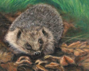 Hedgehog Print - Hedgehog Wall Art - British Wildlife - Wildlife Artwork - Hedgehog Gift - Rustic Art - Hedgehog Picture - Home Decor