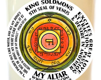 King Solomons Third Seal of Venus Excites Great Love, Attraction, Passion and Desire in Another Scented Soy 8 oz Glass Candle