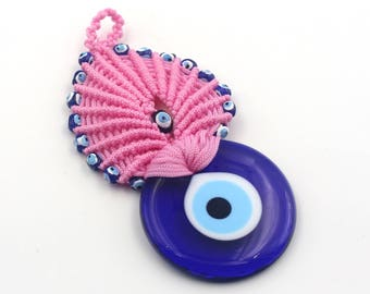 Pink Color Evil Eye Macrame - Handmade Turkish Evil Eye Wall Decor Bead - New Home Gift - Evil Eye Macrame Wall Decor