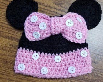 Minnie Mouse Crocheted Hat