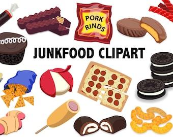 JUNK FOOD CLIPART - chips cookies cheese clip art - junkfood clip art - sweets vectors, munchies vectors, Snacks Clip art